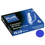 Recambio tinta Plus Office pluma azul 6u