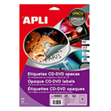 Etiquetes adhesives apli per cd i dvd 50u