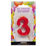 Espelma aniversari vermella nº3 370830