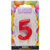 Espelma aniversari vermella nº5 370850
