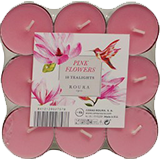Tealights pink flowers 18u 333051130