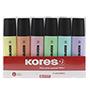 6 retoladors fluorescents Kores pastel