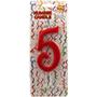 Espelma vermella nº 5 12 cm 32555