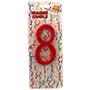 Espelma vermella nº8 12cm 32558