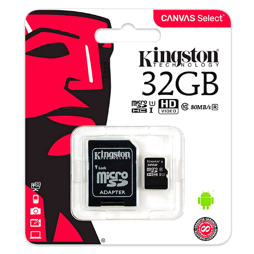 T.MicroSD Canvas 32GB + Adaptador CL10 Kingston