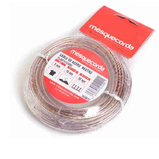 Cable acero plastificado 15m Mcorda
