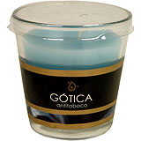 Espelma blava antitabac Gotica vas cònic 75x75 mm