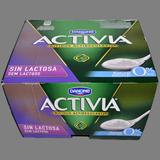 Iogurt activia natural Danone sense lactosa paq. 4 X 120 g.