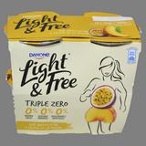 Iogurt light&free Danone pressec i fruita pasion paq.4u.X 115 g
