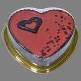 Pastis cor de xocolata amb lacasitos vermells
