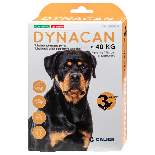 Dynacan antiparasitari extern gossos + 40 kg 3P.
