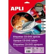 Etiquetes adhesives apli per cd i dvd 50u