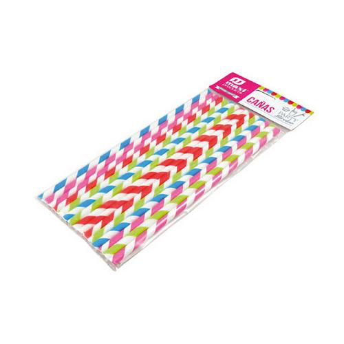Cañas fiesta bicolor papel 20cm