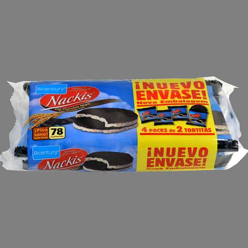Coques d'arròs integral Nackis Bicentury amb xocolata negra
