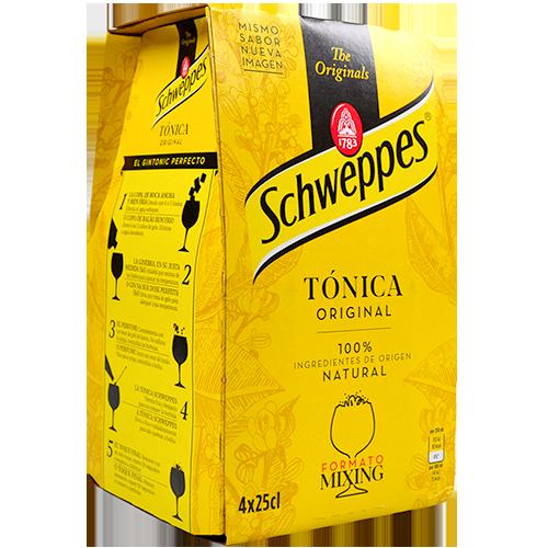 Refresc tònica Schweppes paq. 4 u. x 25 cl vidre