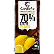 Chocolate negro 70 % con limón sin azúcar tableta