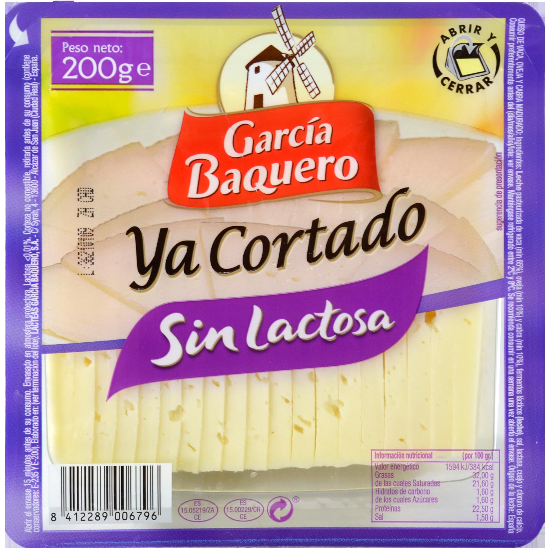 Formatge semicurat sense lactosa Garcia Baquero ja tallat