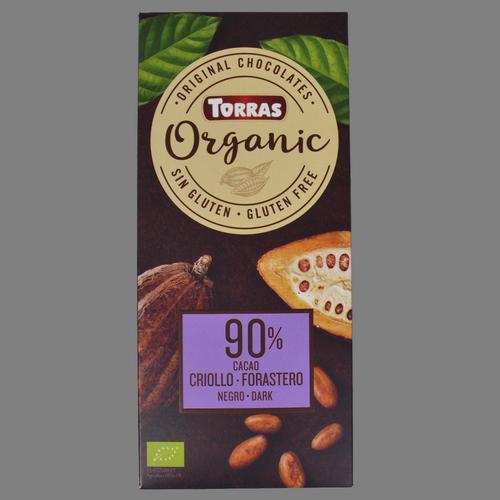 Xocolata negra 90% cacao crioll-foraster Torras organic