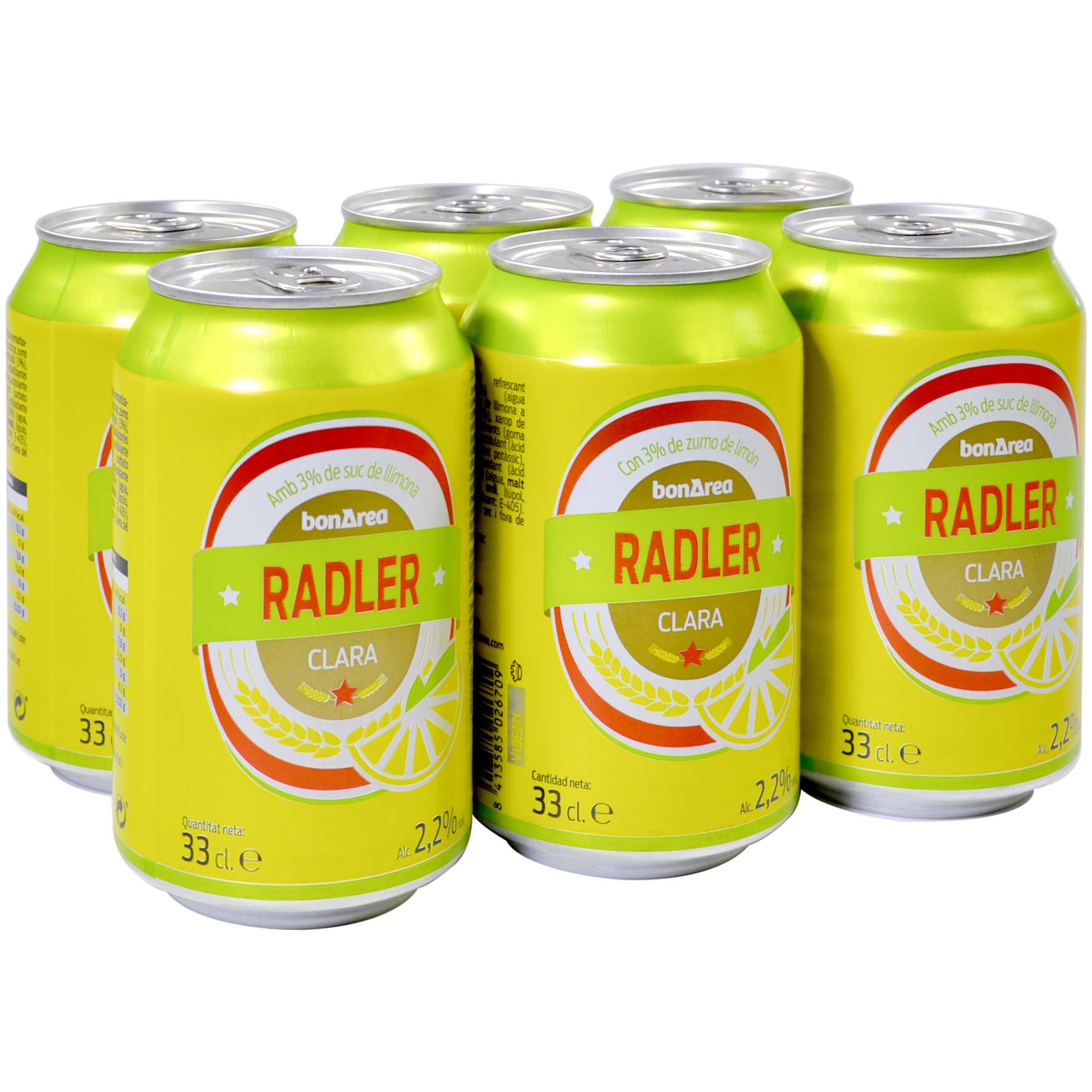 Cerveza Radler con limón paq. de 6 latas