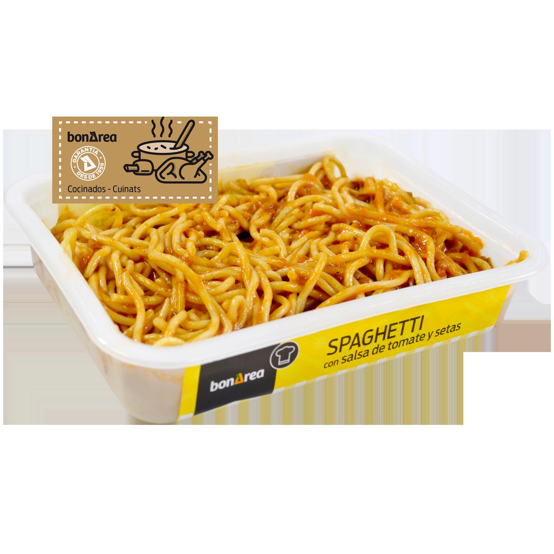 Espaguetis amb tomàquet i bolets