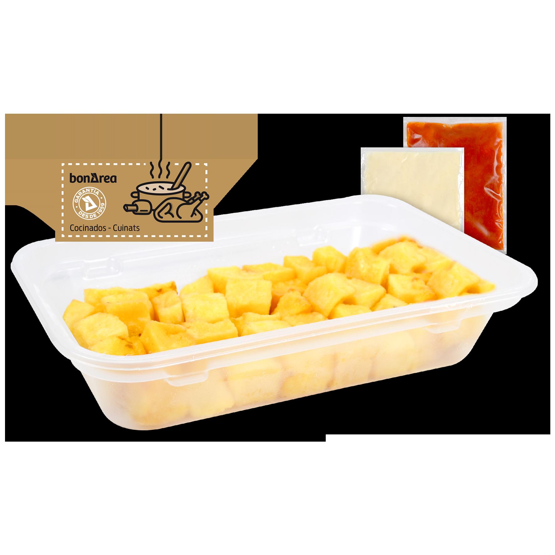 Patatas bravas con alioli y salsa brava