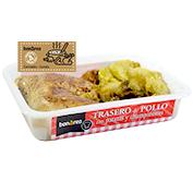 Darrers de pollastre amb patates i xampinyons