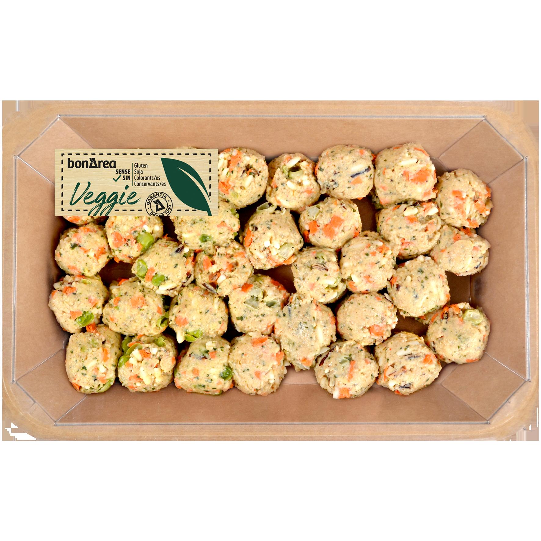 Mandonguilles veganes d'arròs, cigrons i pèsols