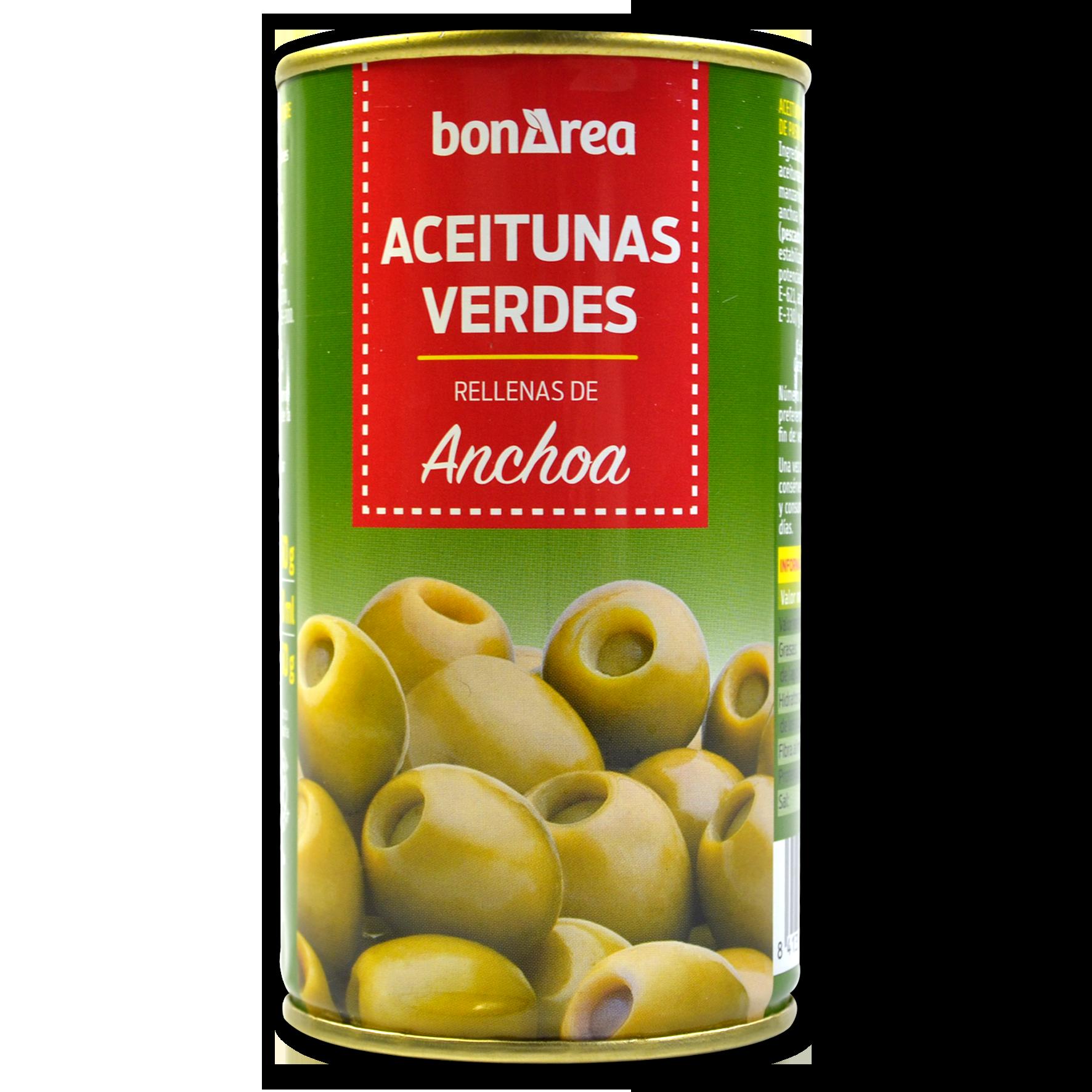 Olives verdes farcides d'anxoves