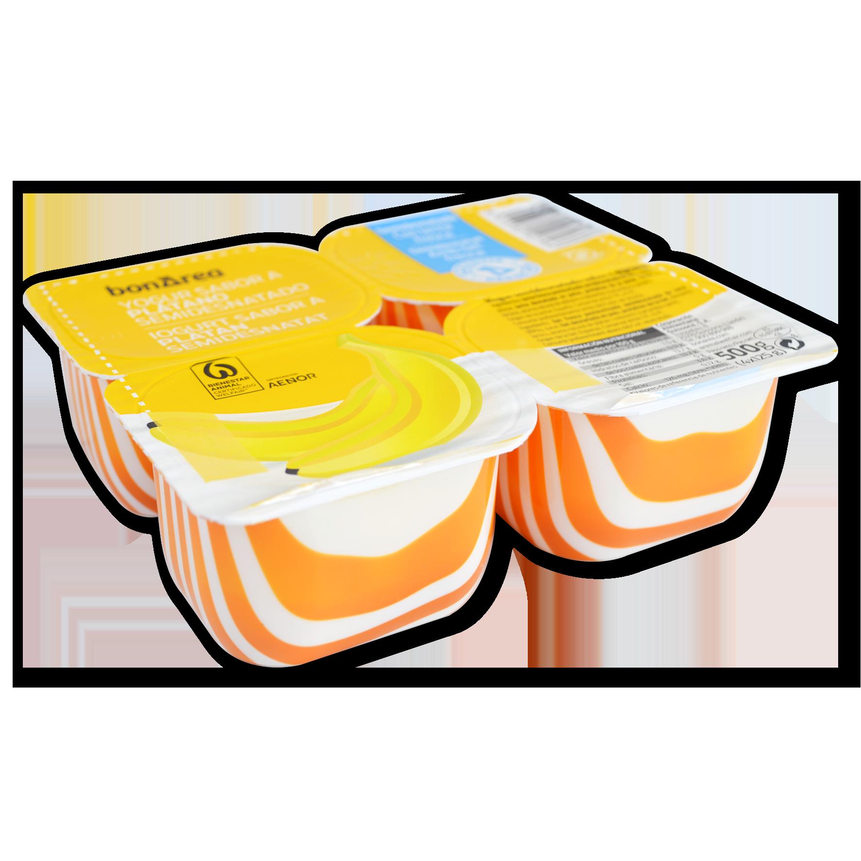 Yogur semidesnatado sabor platano 4 u. de 125 g