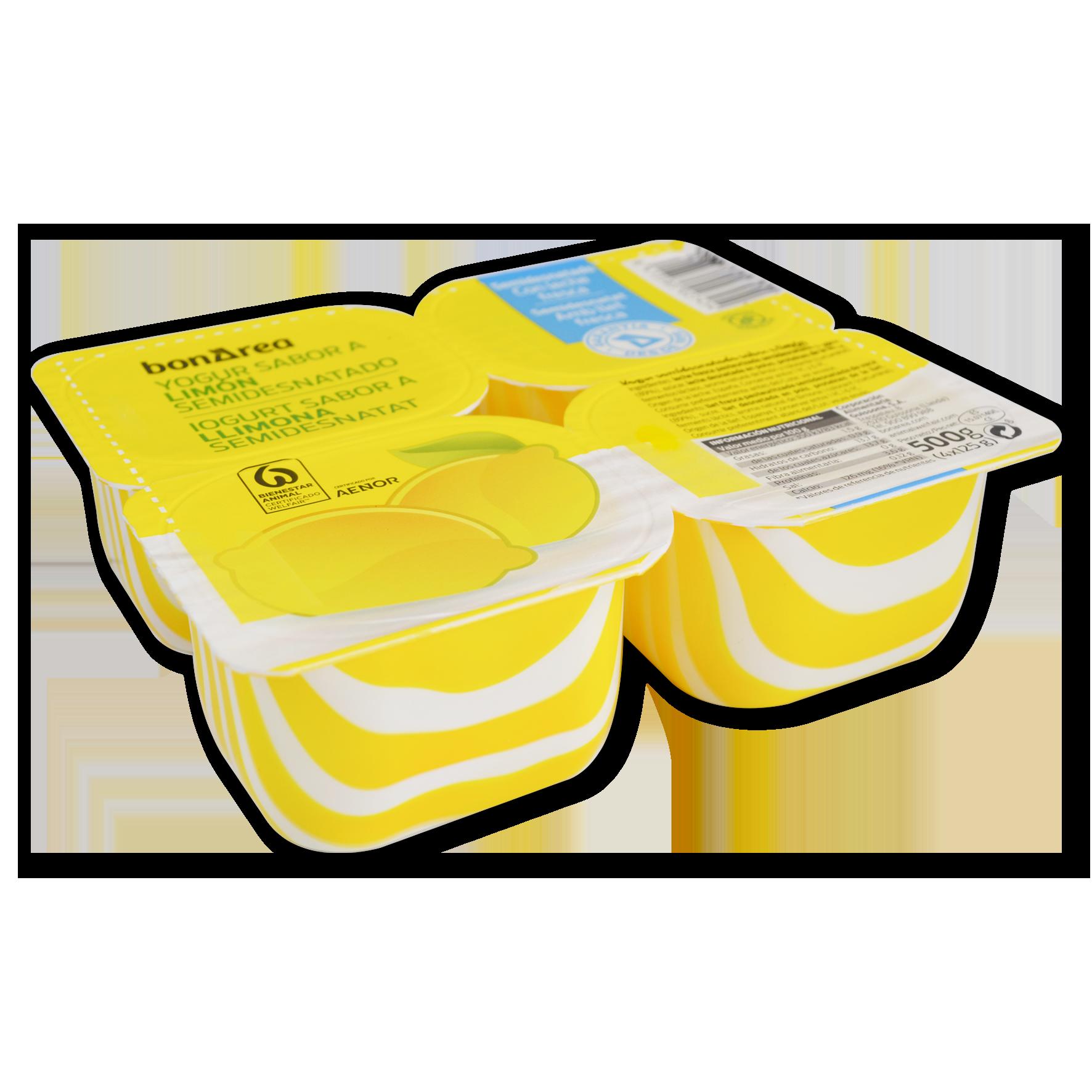 Yogur semidesnatado sabor limón 4 u. de 125 g